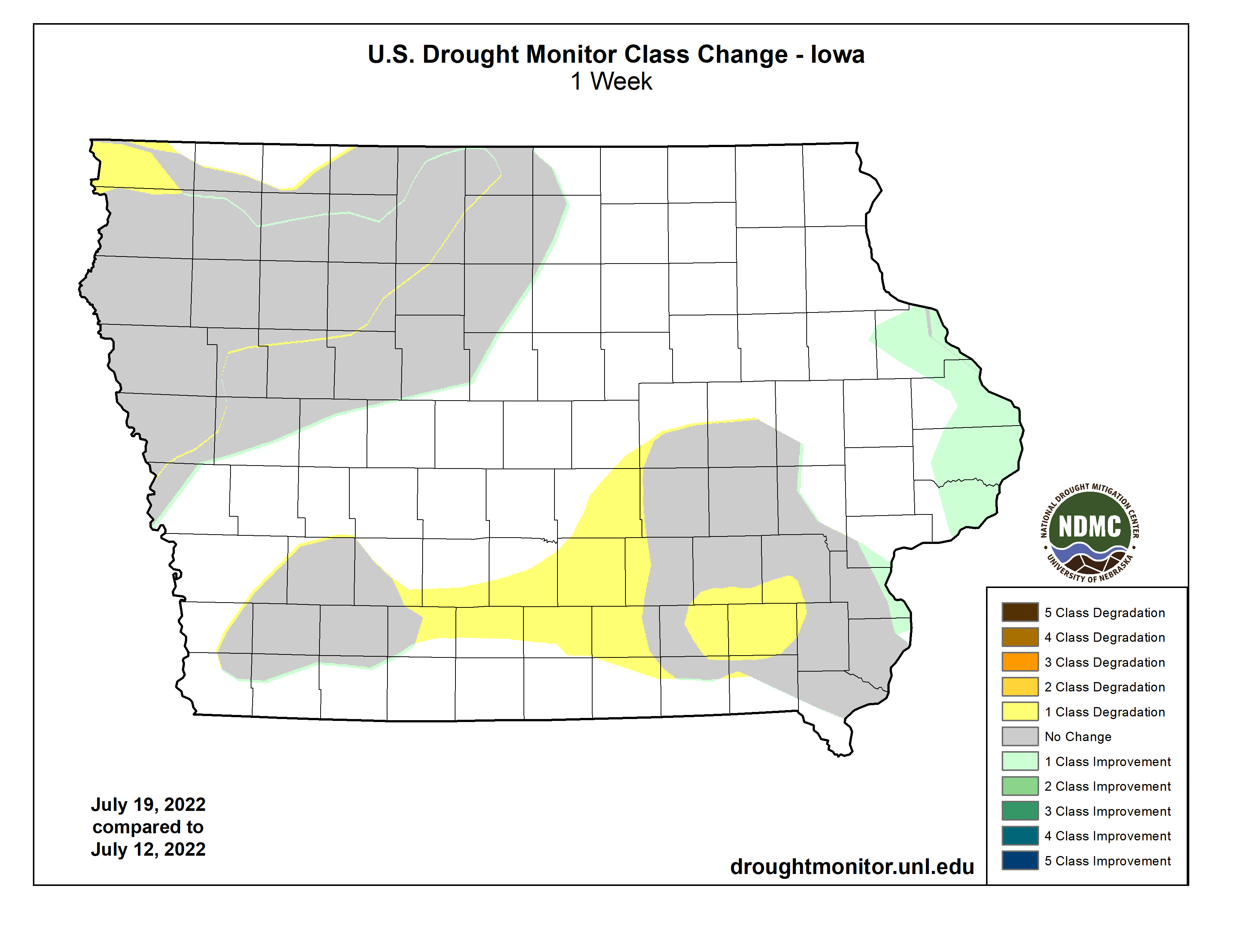 One Week US Drought Monitor Class Change