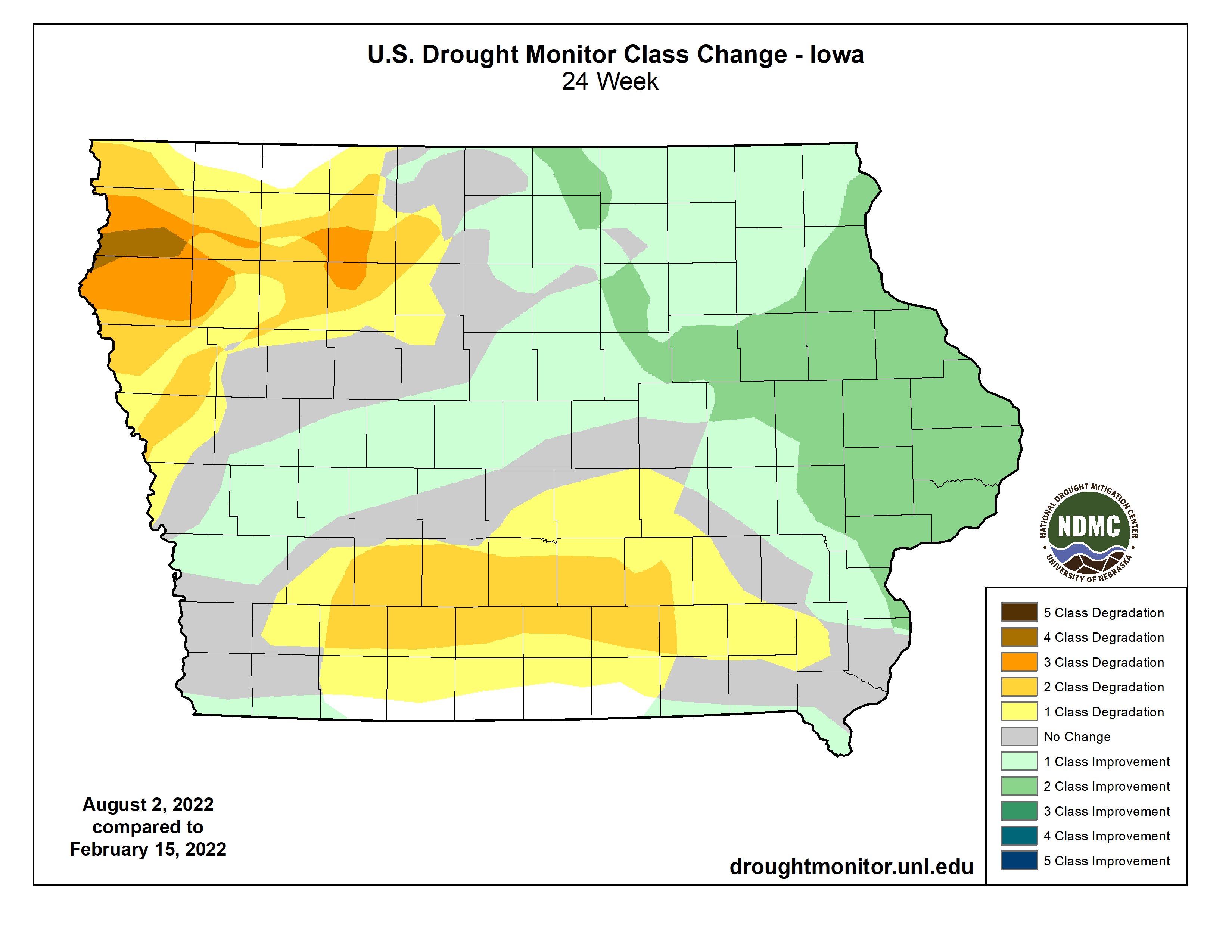 6 Month US Drought Monitor Class Change