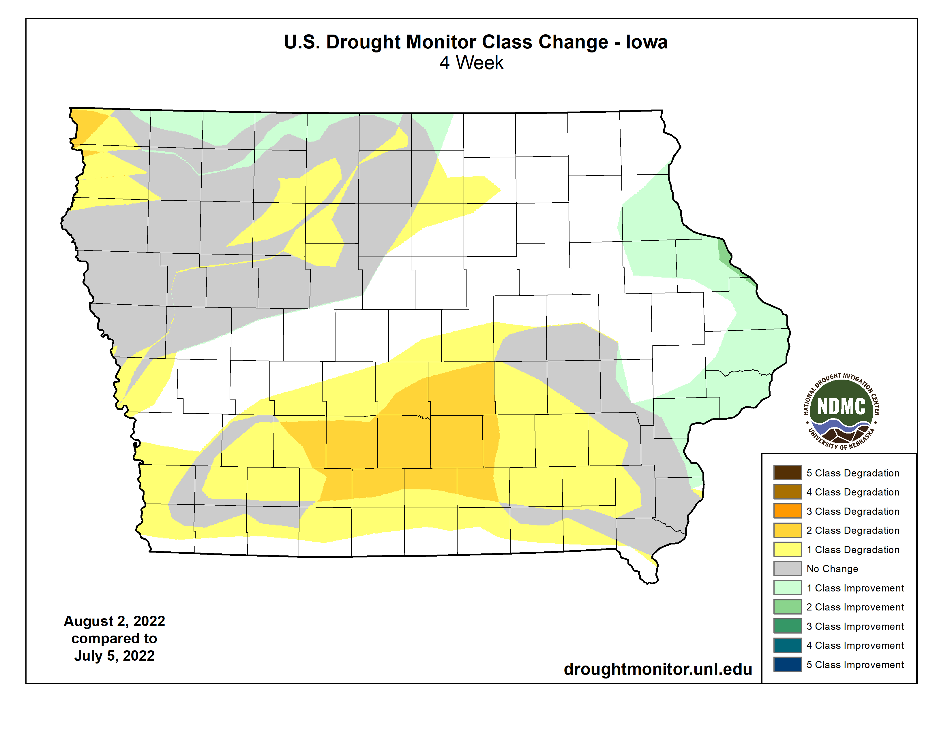 One Month US Drought Monitor Class Change