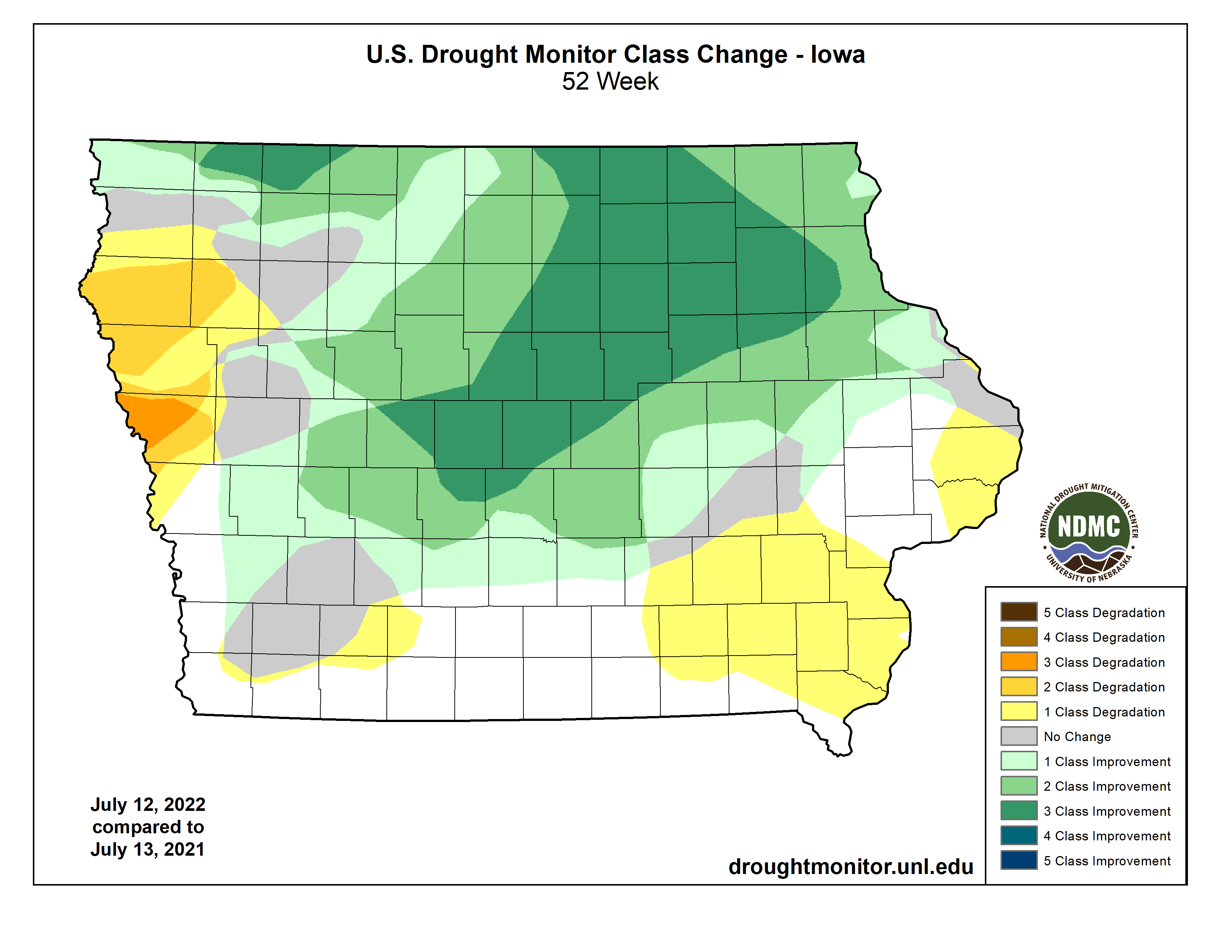 One Year US Drought Monitor Class Change
