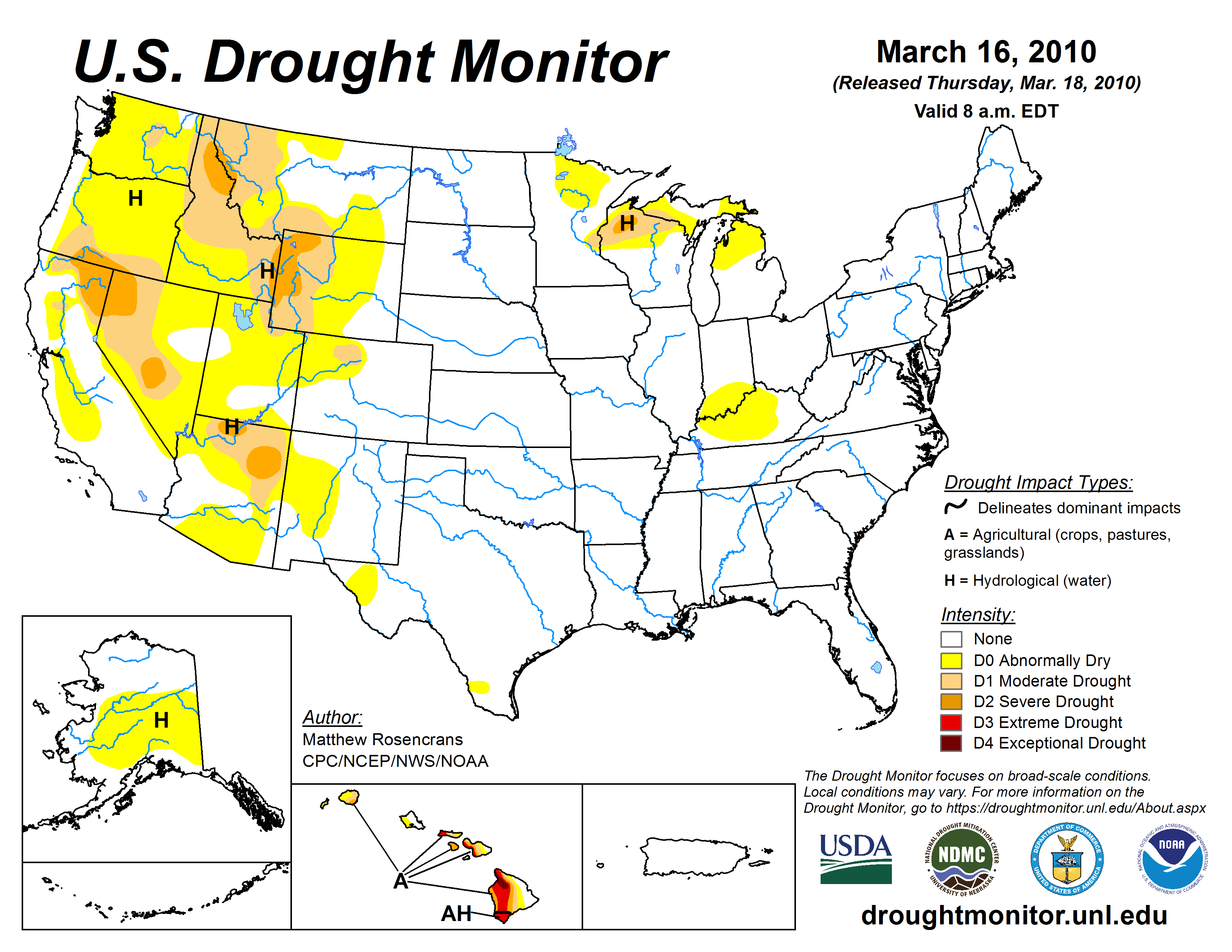 US Drought Monitor, March 16, 2010
