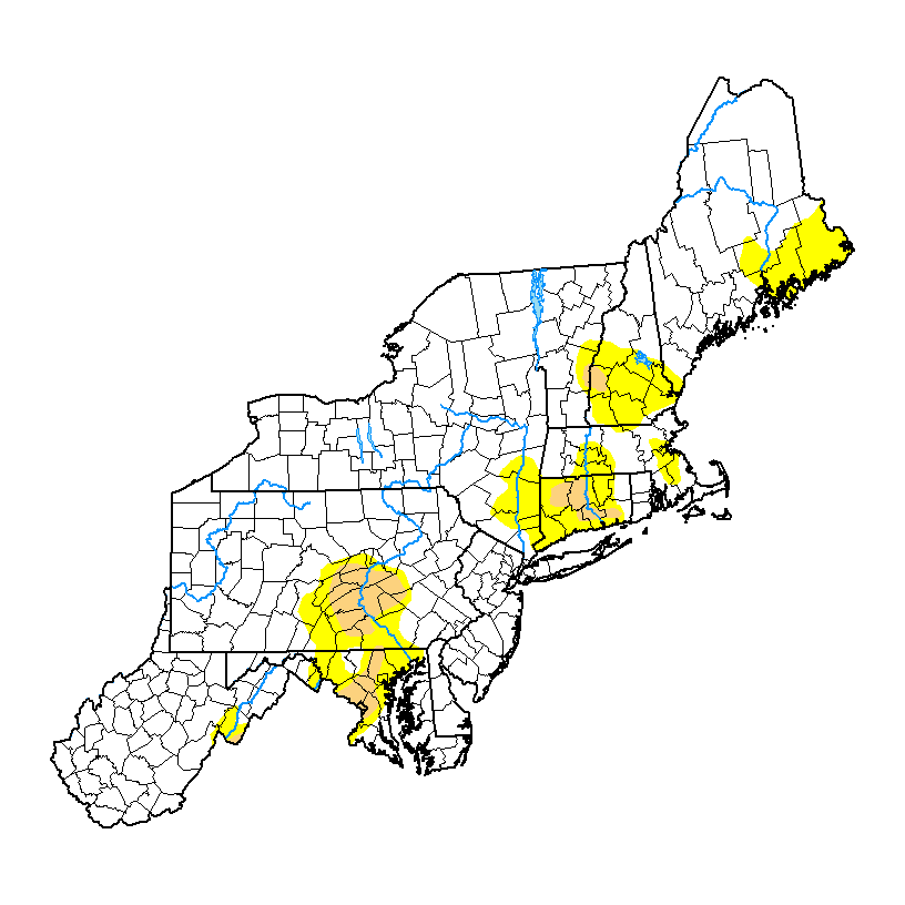 Current US Northeast Drought Monitor