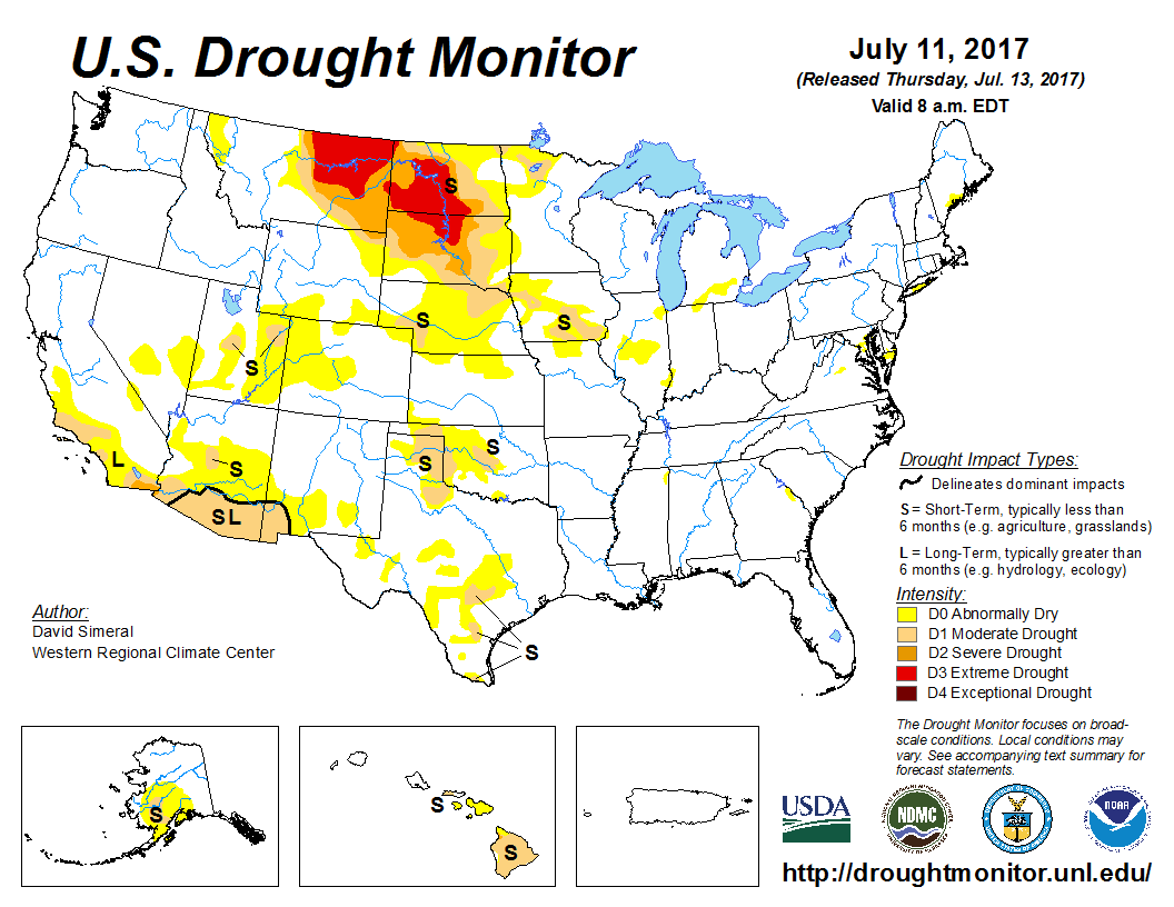 Us Drought Monitor Excessive Heat Continues In The High Plains - Drought-map-us