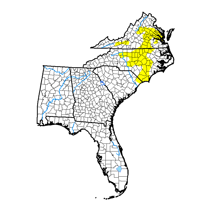 Current US Southeast Drought Monitor