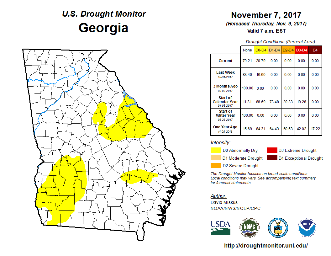 United States Drought Monitor Current Map State Drought Monitor - Georgia map legend