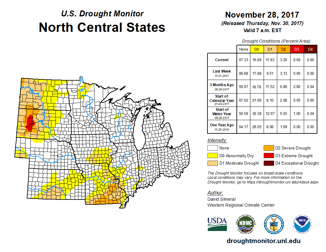 North Central Portion of the U.S. Drought Monitor for Nov. 28, 2017.