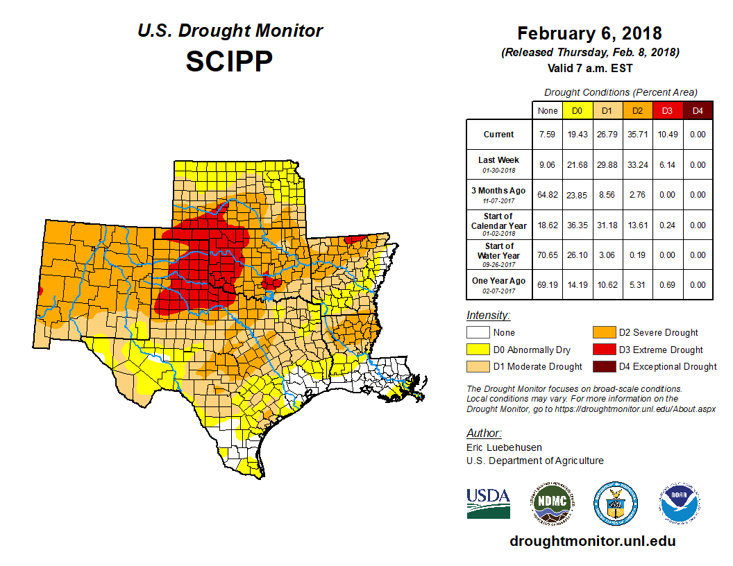 Southern Plains detail of the U.S. Drought Monitor, released Feb. 8, 2018.