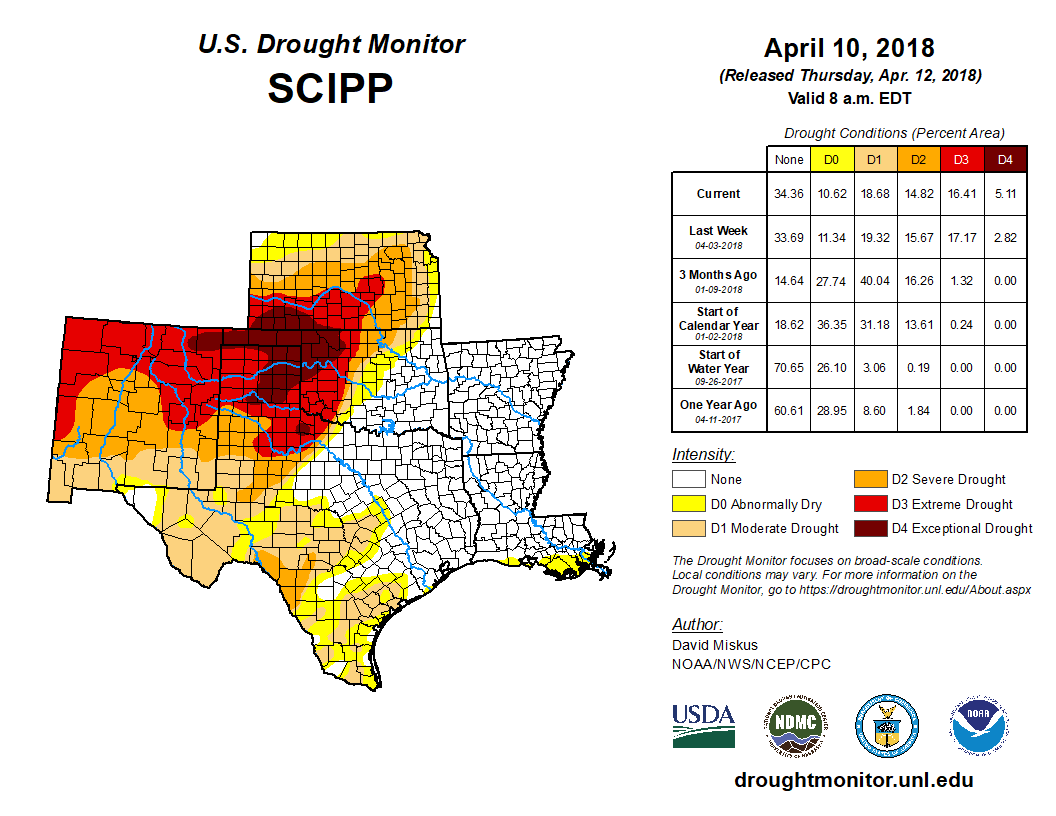 Southern Plains detail of the U.S. Drought Monitor, released Apr. 12, 2018.