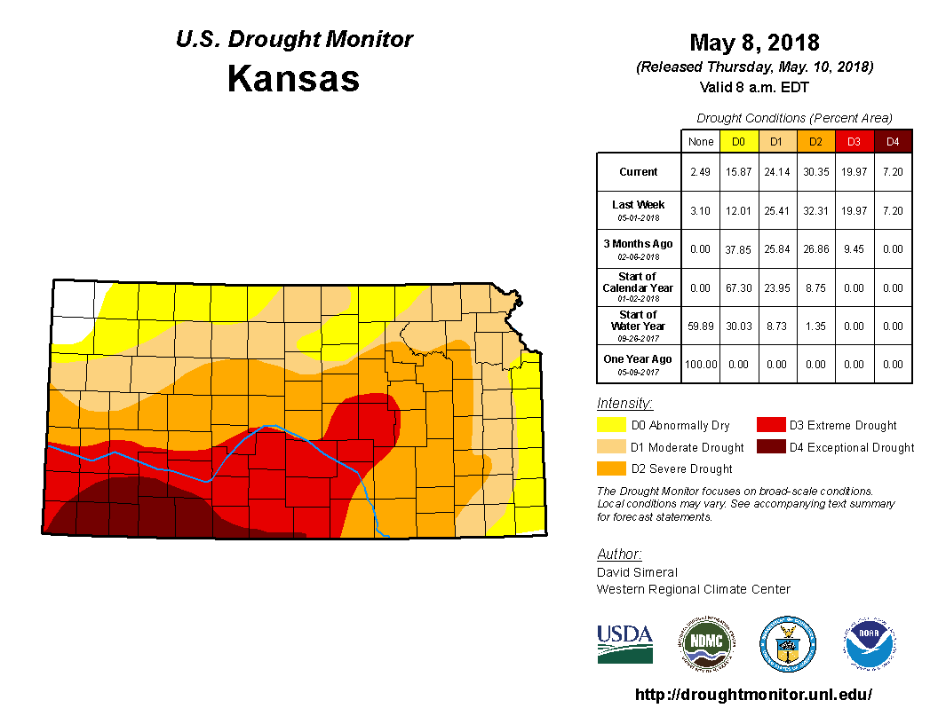 Kansas detail from the U.S. Drought Monitor, released May 10, 2018.
