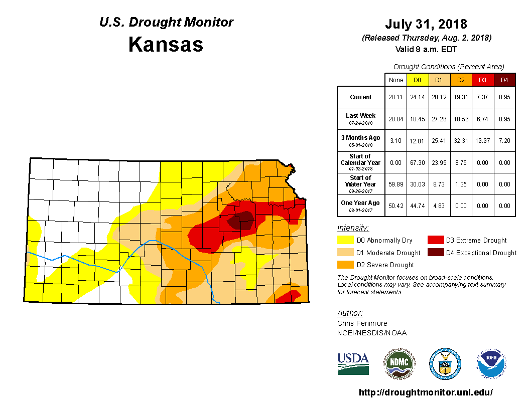 Kansas detail from the U.S. Drought Monitor, released Aug. 2, 2018.