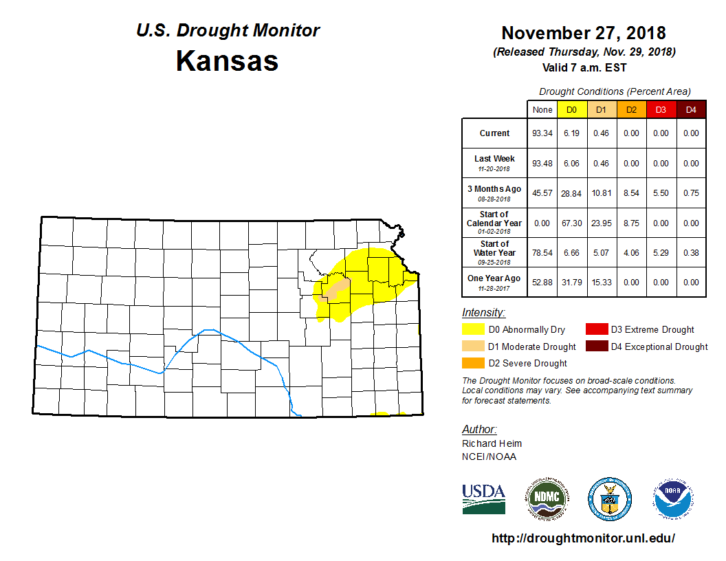 Kansas detail from the U.S. Drought Monitor, released Nov. 29, 2018.