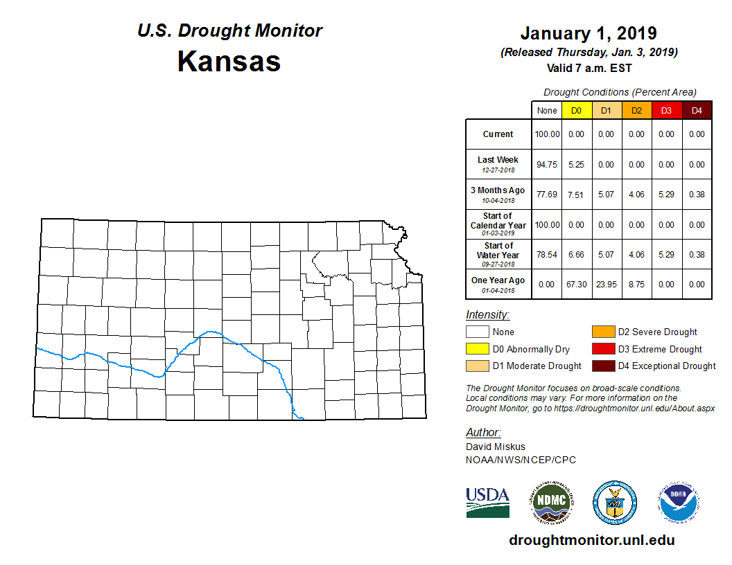 Kansas detail from the U.S. Drought Monitor, published Jan. 4, 2019.