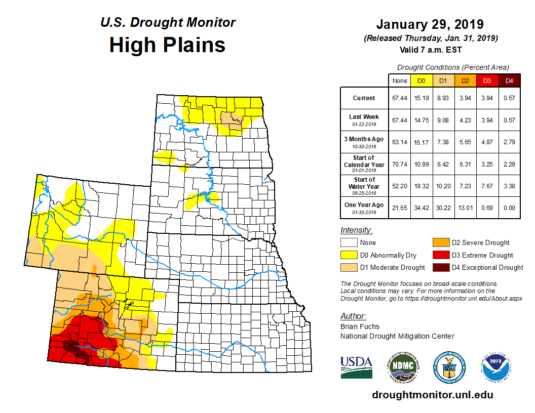 High Plains detail from the U.S. Drought Monitor, released Jan. 31, 2019.