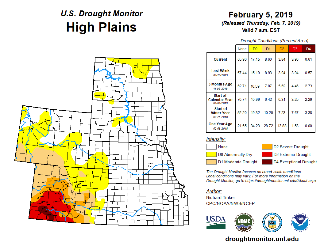 High Plains detail from the U.S. Drought Monitor, released Feb. 7, 2019.