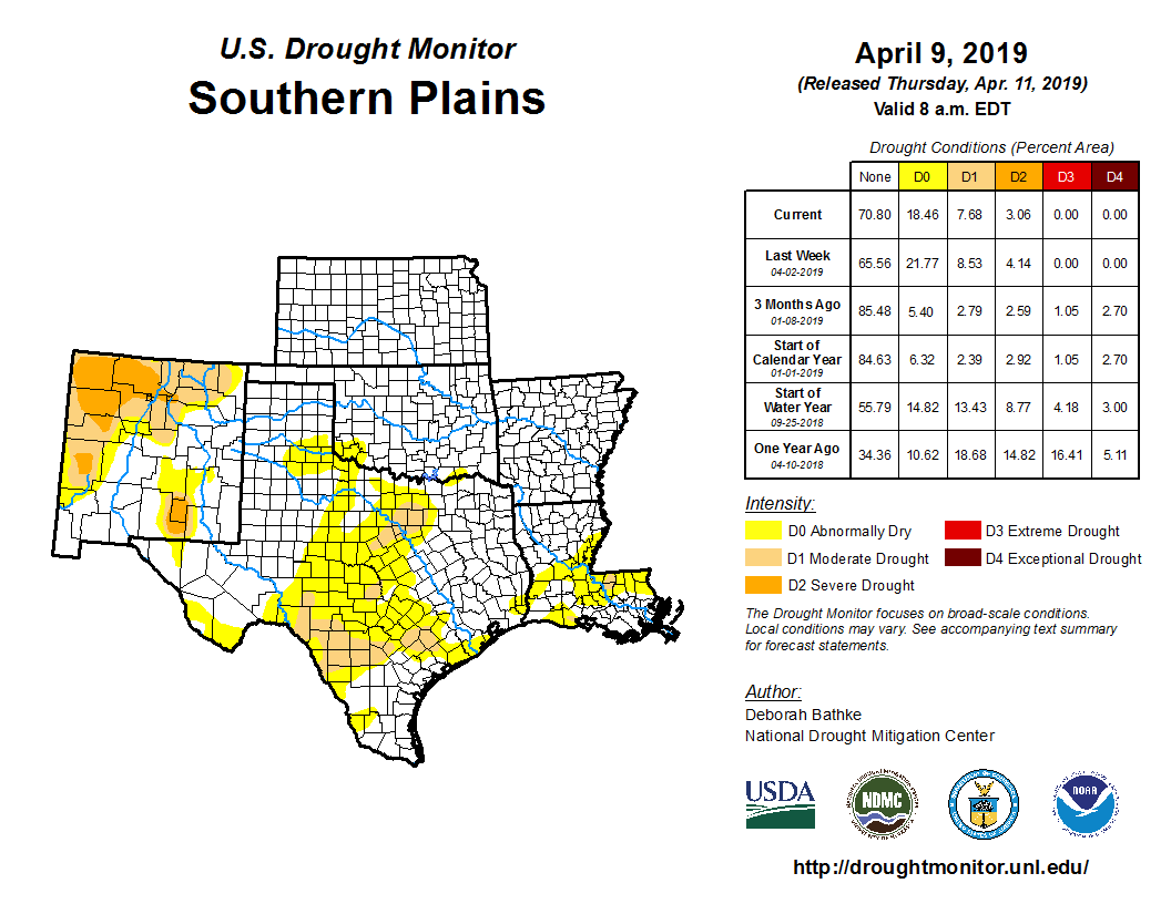 Southern Plains detail from the U.S. Drought Monitor, released Apr. 11, 2019.