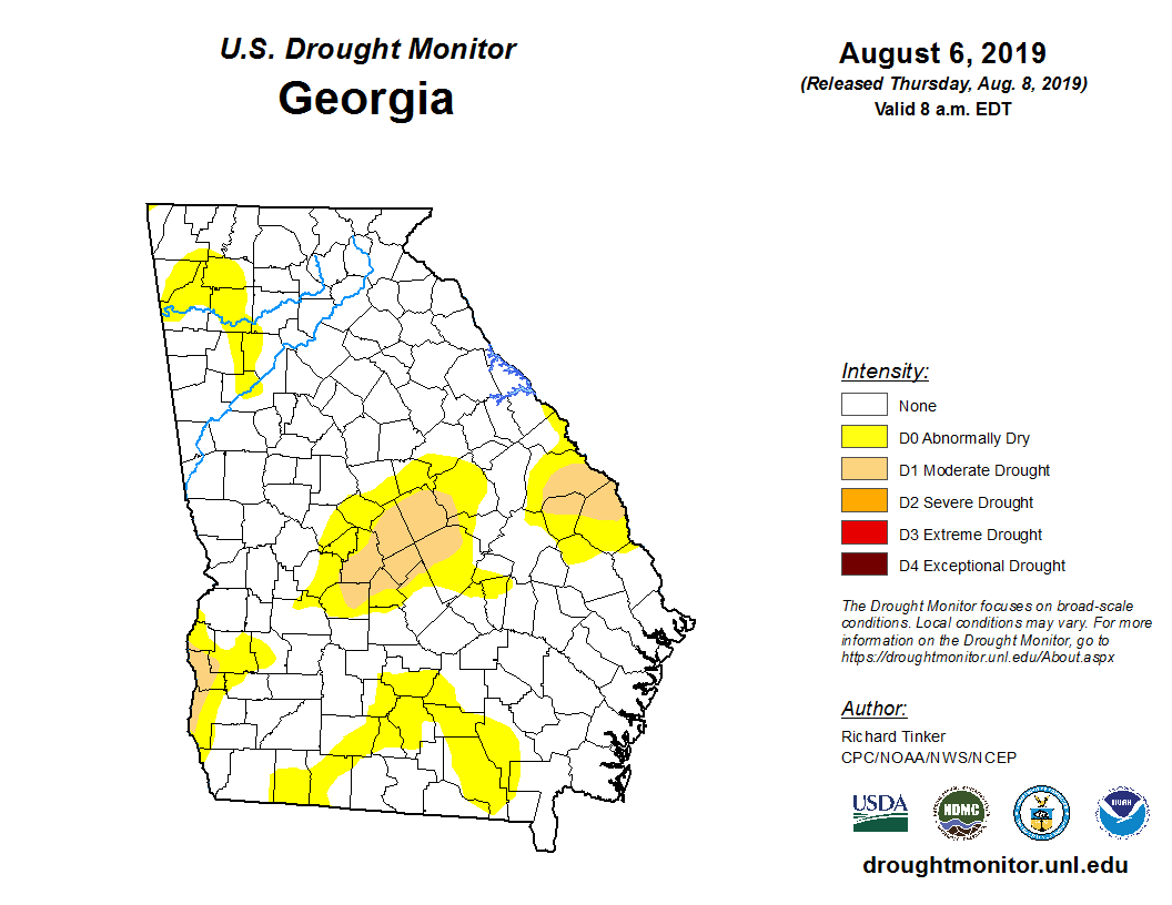 Map Of Georgia 95.State Drought Monitor United States Drought Monitor