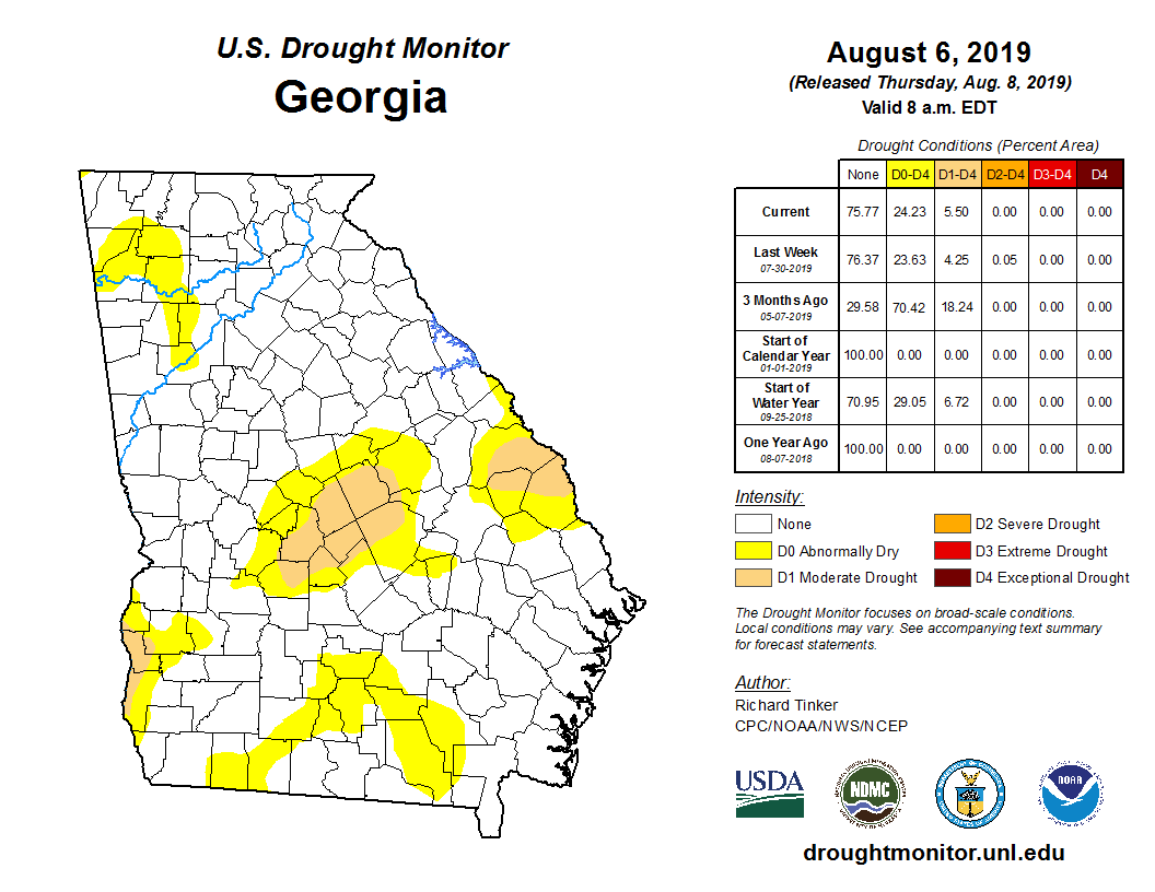 Map Of Georgia On 95.State Drought Monitor United States Drought Monitor