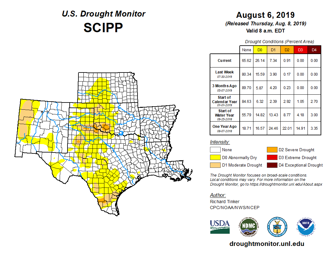 Southern plains detail from the U.S. Drought Monitor, released Aug. 8, 2019.