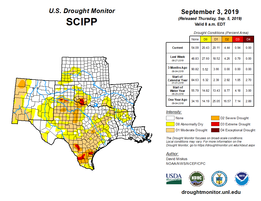 Southern Plains detail from the U.S. Drought Monitor, released Sept. 5, 2019.