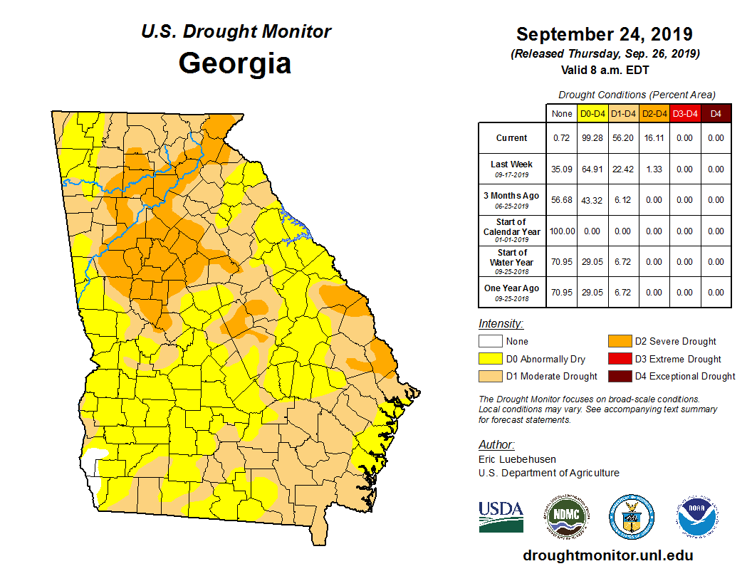 State Drought Monitor | United States Drought Monitor on georgia major cities map, mn map, wx map, georgia road map, nc map, usa map, tennesse map, ca map, nh map, alabama map, al map, oh map, mi map, va map, fl map, georgia counties map, gra map, ri map, et map, atlanta map,