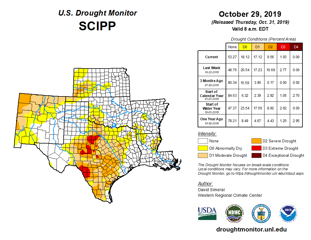 Southern Plains detail from the U.S. Drought Monitor