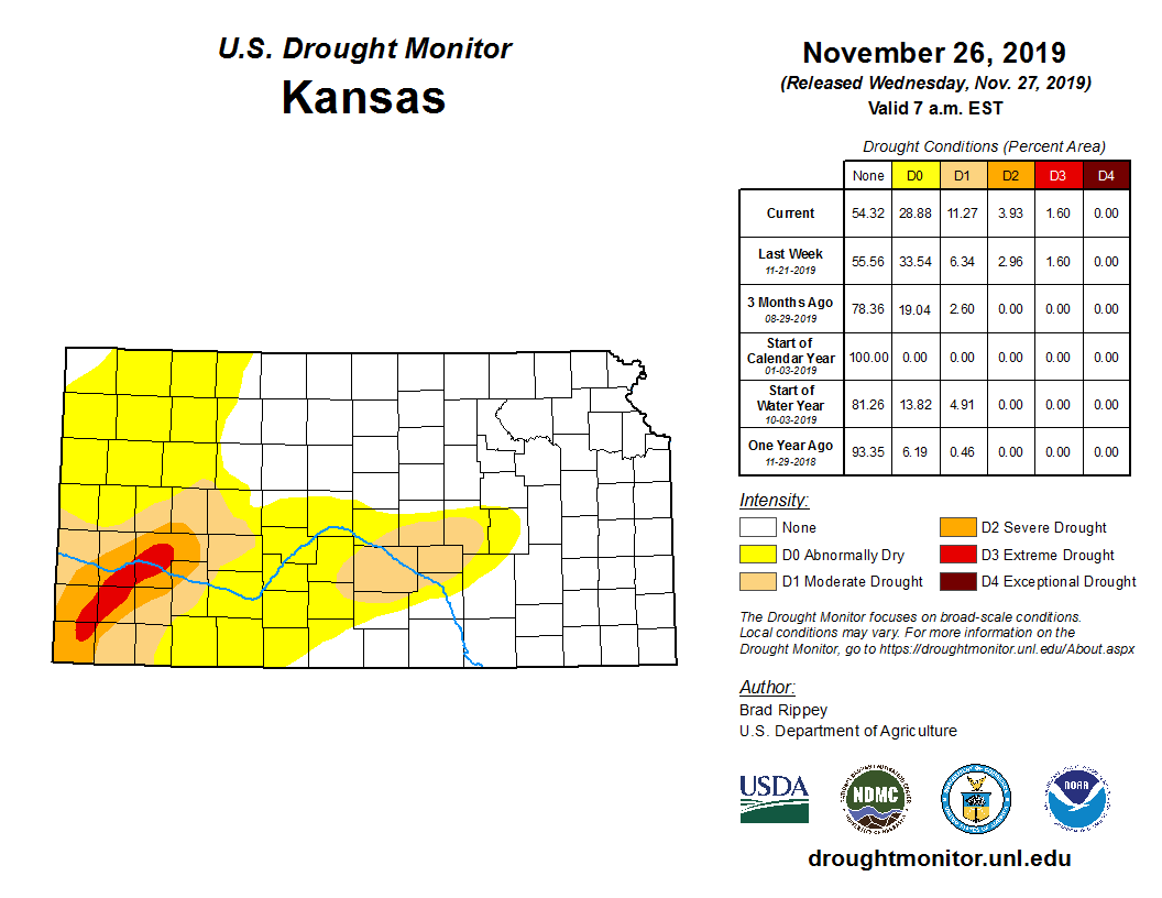 Kansas portion of the U.S. Drought Monitor, released Nov. 27, 2019.