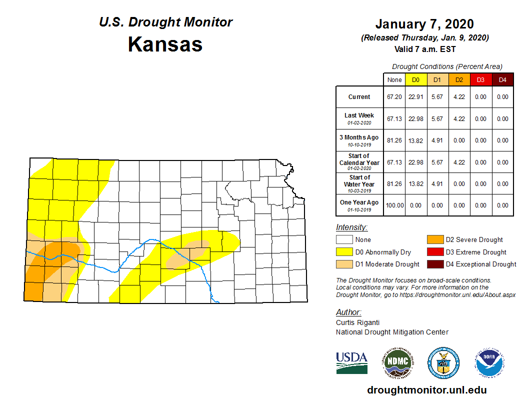 Kansas portion of the U.S. Drought Monitor, released Jan. 7, 2020.