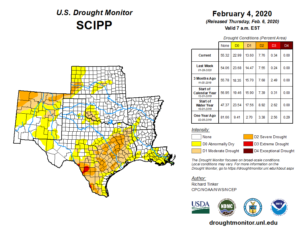 Southern Plains portion of the U.S. Drought Monitor, released Feb. 6, 2020.
