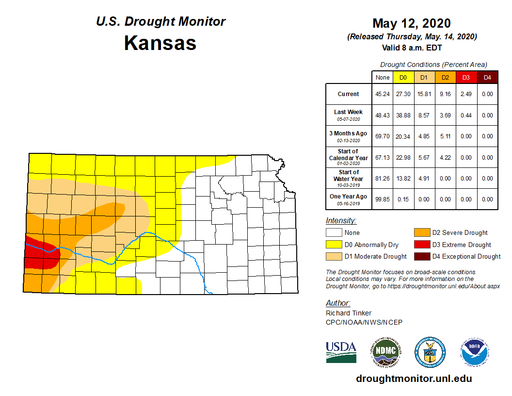 Kansas portion of the U.S. Drought Monitor, released May 14, 2020.