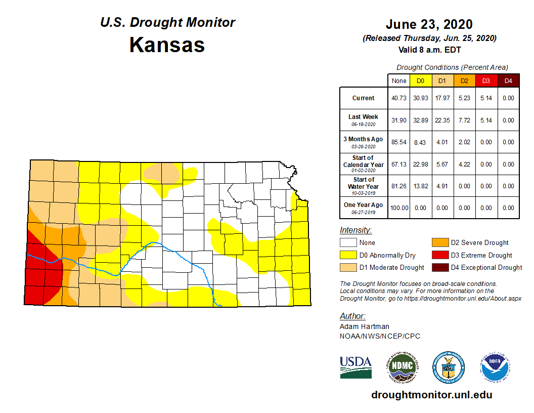 Kansas portion of the U.S. Drought Monitor, released June 25, 2020.