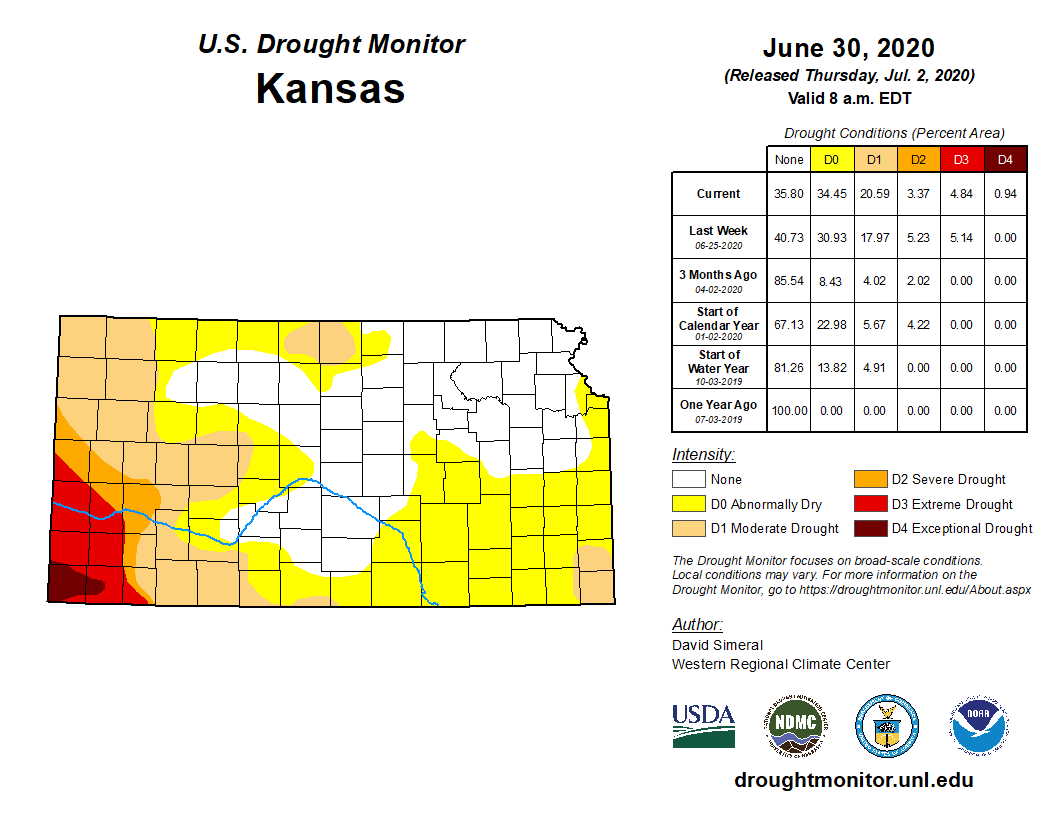 Kansas portion of the U.S. Drought Monitor, released July 2, 2020.
