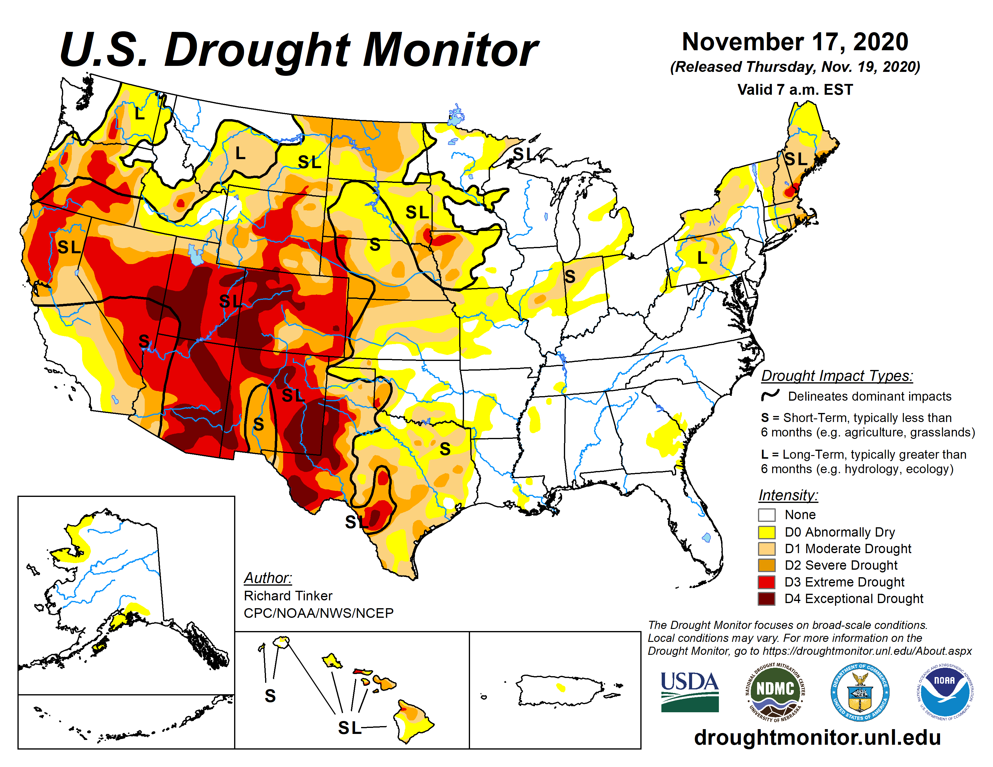 Image of: Current Map United States Drought Monitor