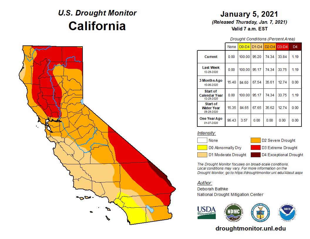 Monitoraggio della siccità negli Stati Uniti al 5 Gennaio 2021