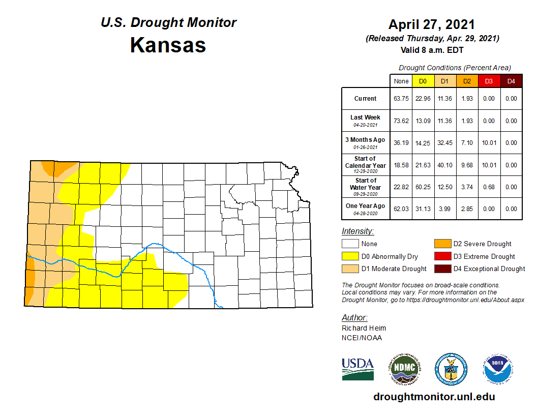 Kansas portion of the U.S. Drought Monitor, released Apr. 29, 2021.