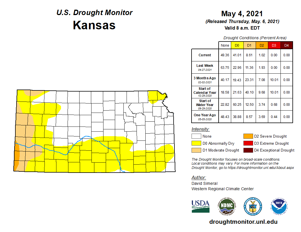 Kansas portion of the U.S. Drought Monitor, released May 6, 2021.