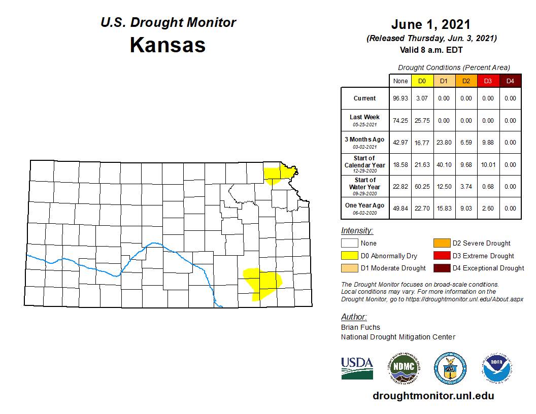 Kansas portion of the U.S. Drought Monitor, released June 3, 2021.