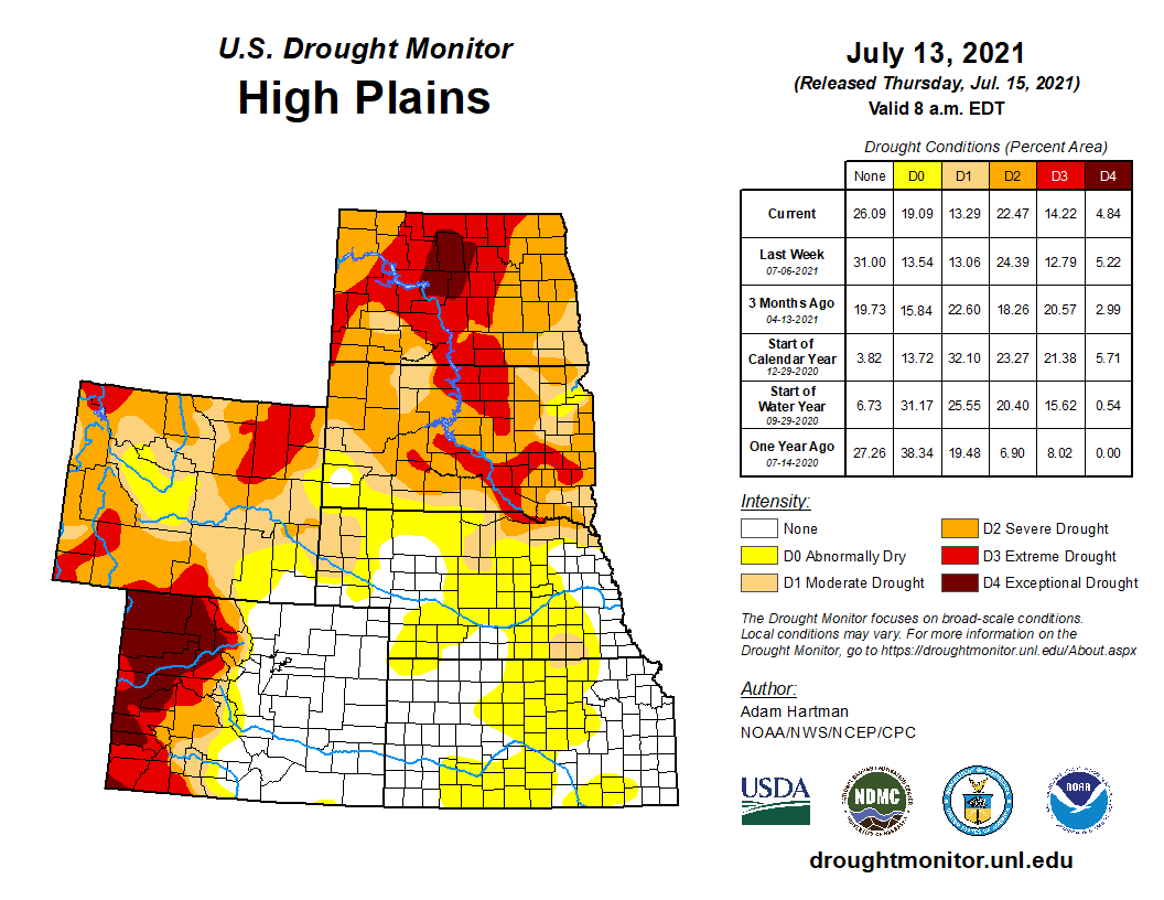 High Plains portion of the U.S. Drought Monitor, released July 15, 2021.