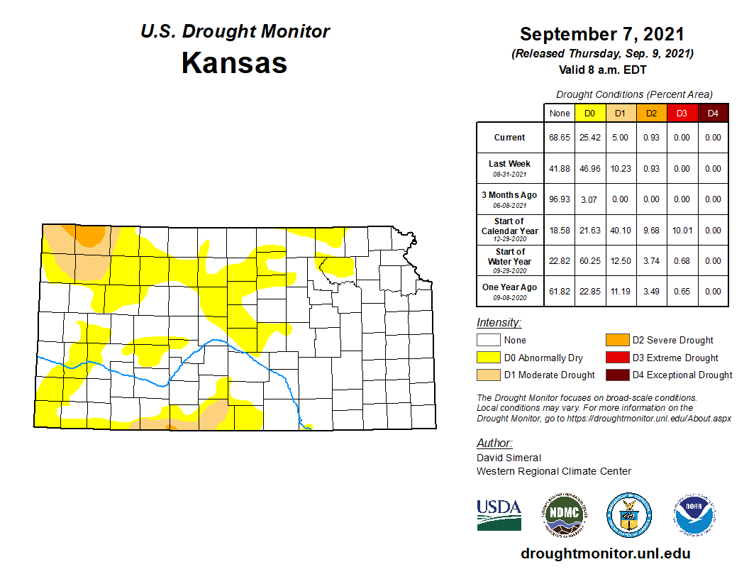 Kansas portion of the U.S. Drought Monitor for Sept. 9, 2021.