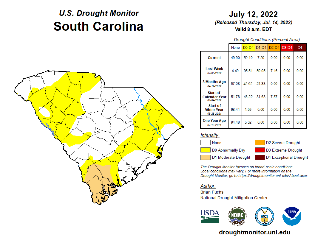 The latest drought situtation across South Carolina from the U.S. Drought Monitor