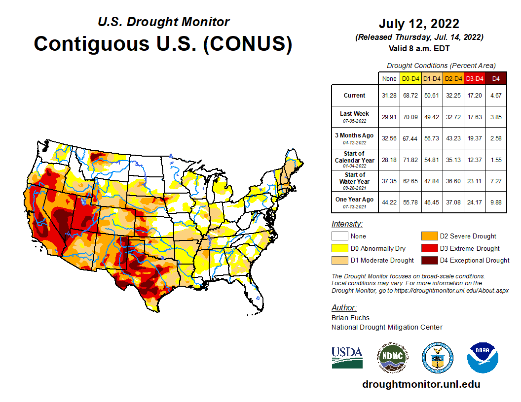 The U.S. Drought Monitor is jointly produced by the National Drought Mitigation Center at the University of Nebraska-Lincoln, the United States Department of Agriculture, and the National Oceanic and Atmospheric Administration. Map courtesy of NDMC-UNL.