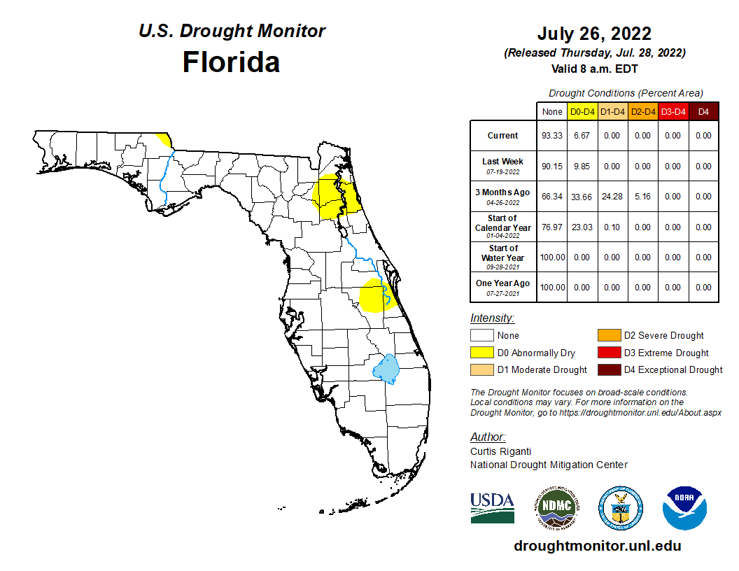 Florida Current Map.Latest Drought Rainfall Information