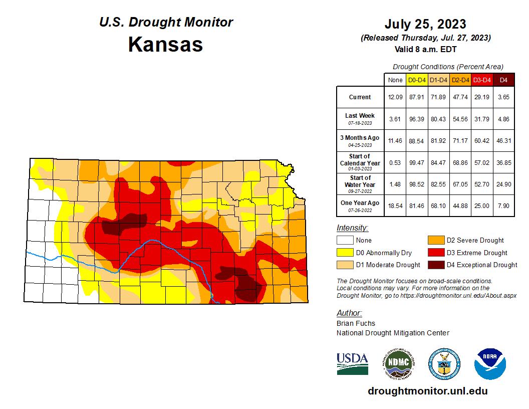 Current Kansas Drought Monitor