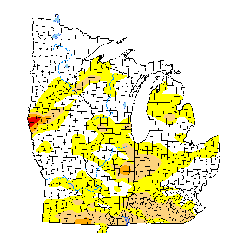 Latest drought monitor over the midwest