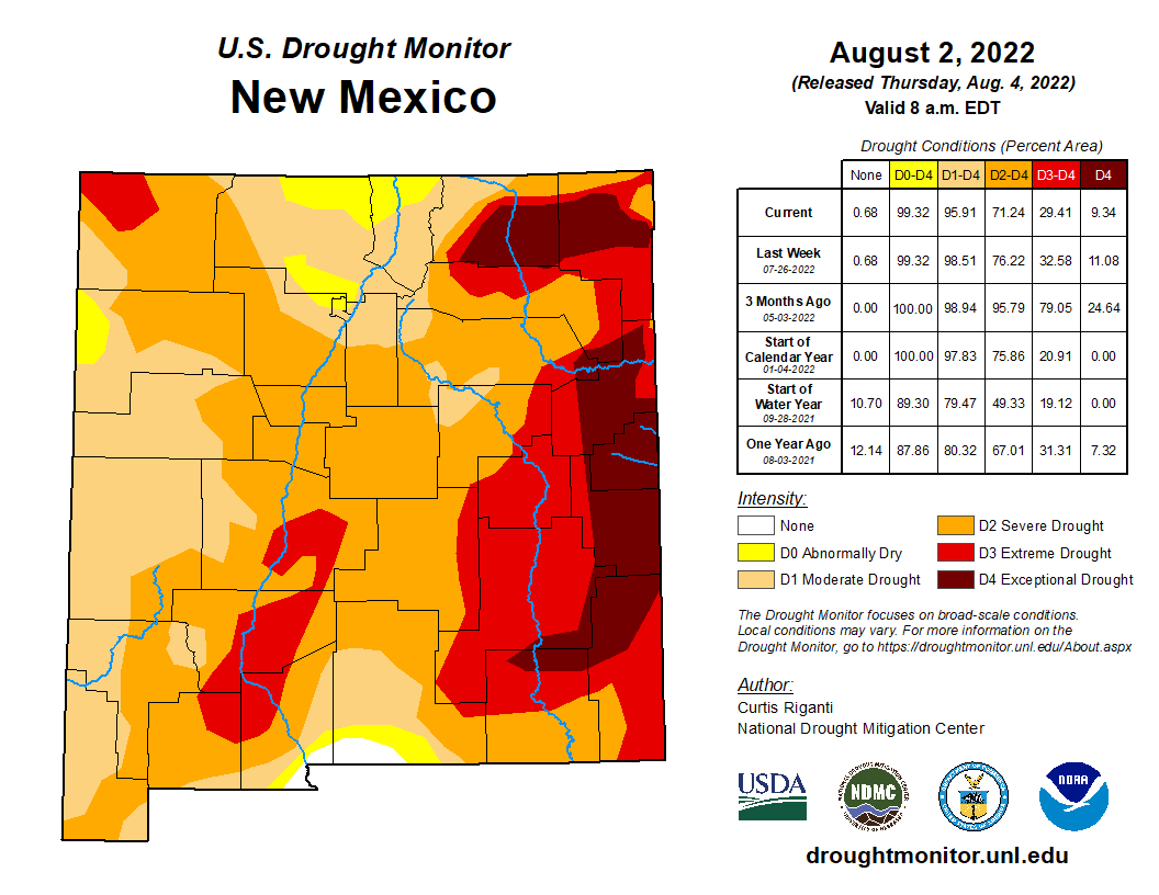 Map of the current drought status in New Mexico.