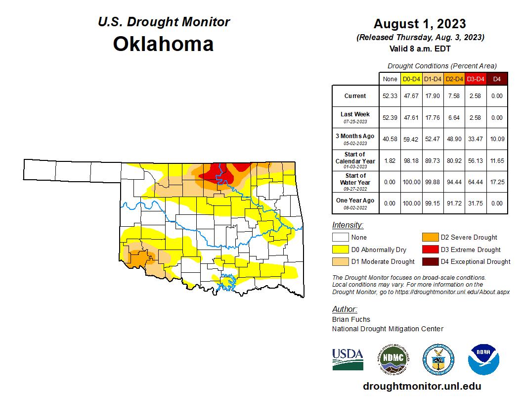 Oklahoma Climatological Survey US Drought Monitor Oklahoma - D3 us map