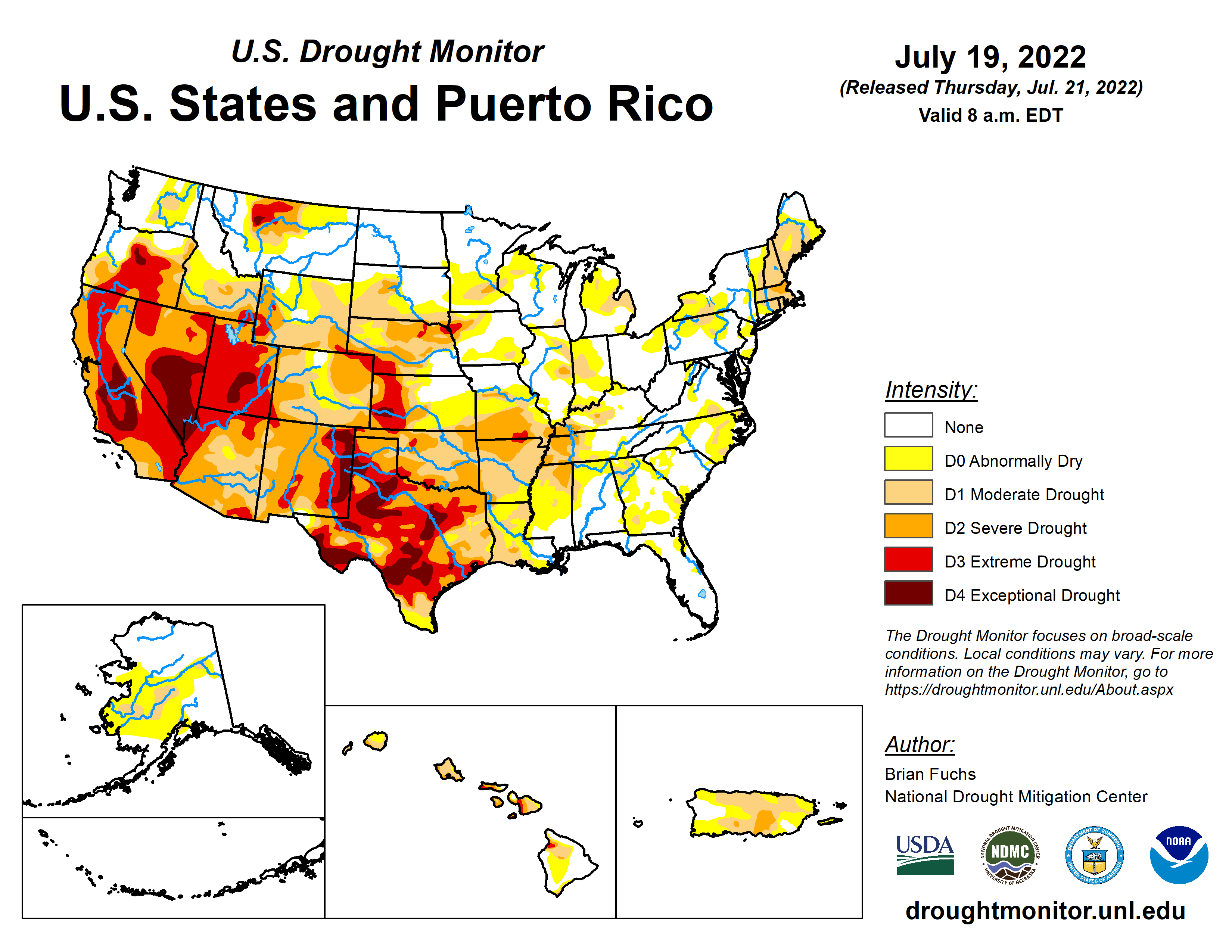 Current drought map of the U.S.