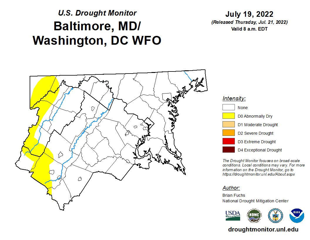 weekly LWX Drought Monitor